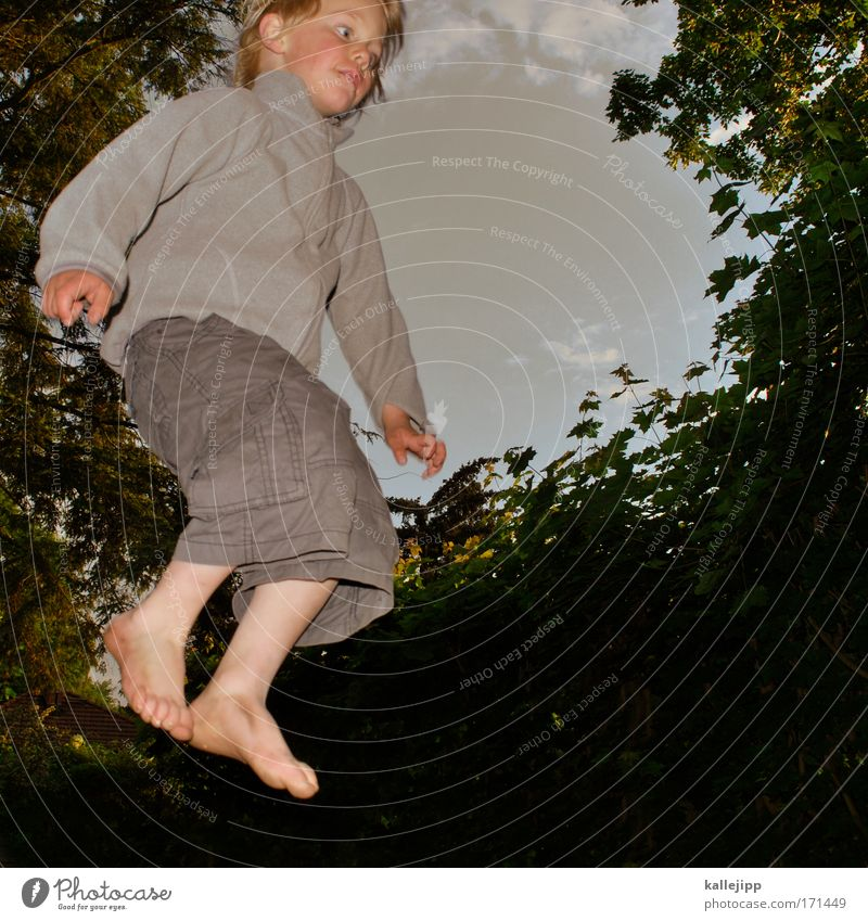 Human being Child Sky Tree Vacation & Travel Joy Leaf Forest Environment Life Playing Boy (child) Hair and hairstyles Jump Garden Legs