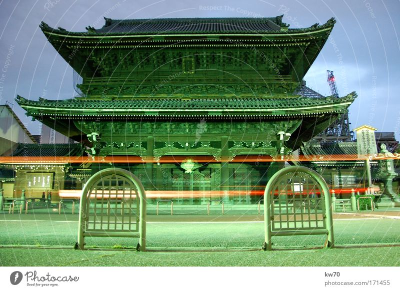 Temple in Kyoto Colour photo Exterior shot Deserted Evening Central perspective Japan Asia Landmark Old Historic Green Town