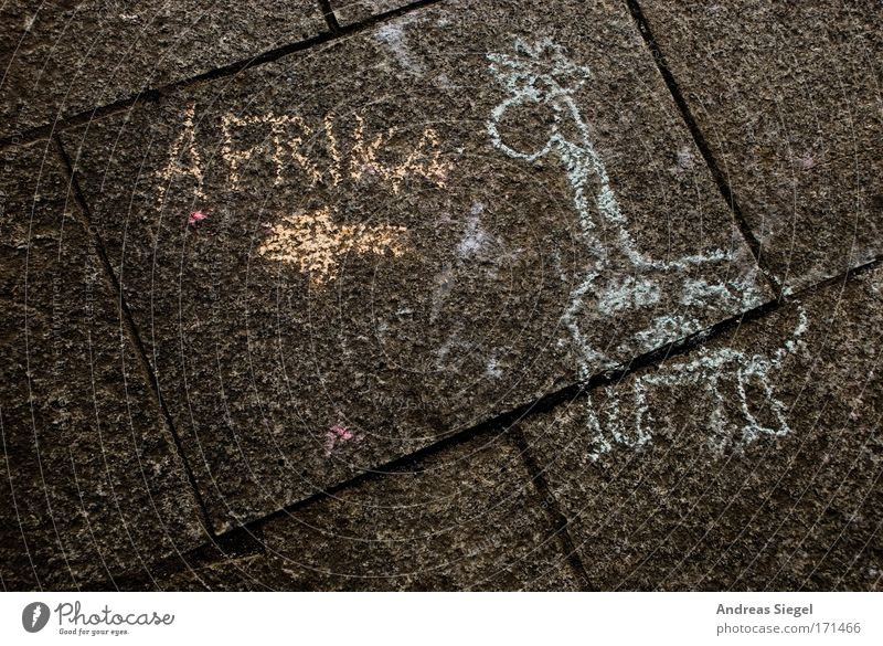That's the way to Africa! Colour photo Exterior shot Deserted Copy Space left Lifestyle Joy Leisure and hobbies Playing Chalk Art Work of art