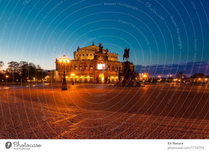 The Semper Opera House in Dresden Art Opera house Night sky Capital city Old town Deserted Places Manmade structures Architecture Tourist Attraction Fantastic