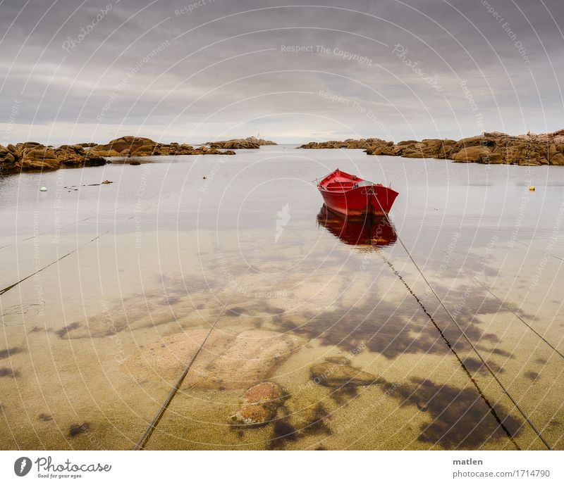 rojo Nature Landscape Sand Water Sky Clouds Horizon Summer Weather Rock Coast Beach Bay Ocean Fishing boat Blue Brown Red Rope Dew moored Colour photo