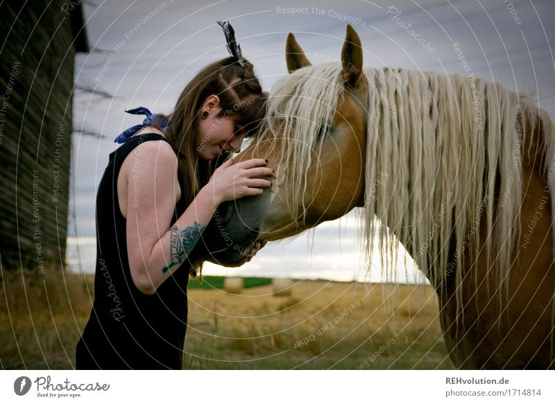 Carina Horse Girl. Leisure and hobbies Ride Feminine Young woman Youth (Young adults) 1 Human being 18 - 30 years Adults Environment Nature Field Dress Tattoo
