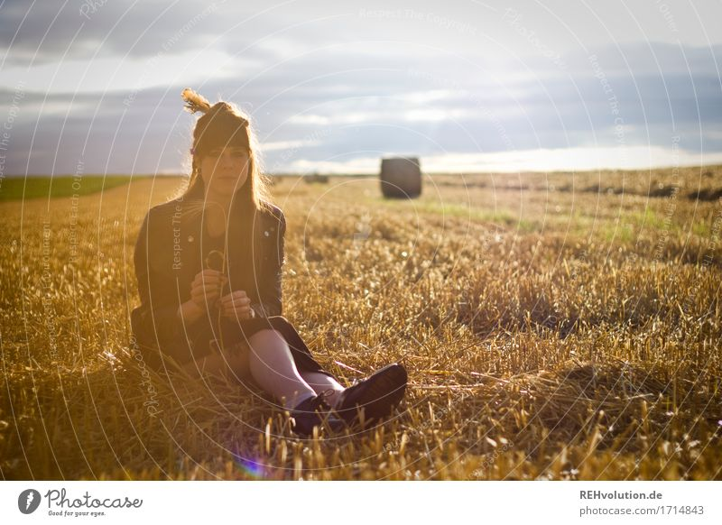 Carina in the field. Human being Feminine Young woman Youth (Young adults) 1 18 - 30 years Adults Environment Nature Landscape Field Dress Hair and hairstyles