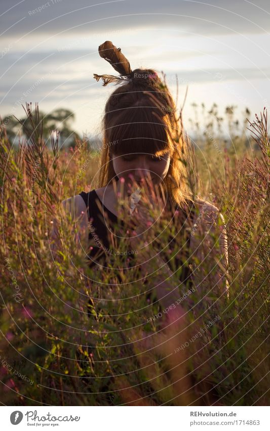 Carina in the evening light. Human being Feminine Young woman Youth (Young adults) 1 18 - 30 years Adults Environment Nature Landscape Sky Summer