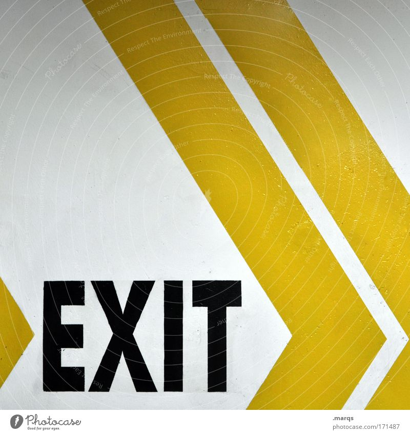 exit Colour photo Interior shot Copy Space top Design Characters Signs and labeling Signage Warning sign Line Arrow Stripe Uniqueness Yellow White Fear