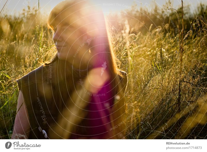 Carina in the evening light. Human being Feminine Young woman Youth (Young adults) Face 1 18 - 30 years Adults Environment Nature Grass Meadow Piercing