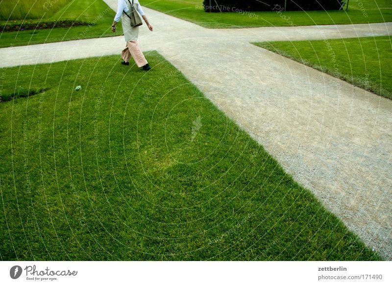Woman Green Plant Meadow Grass Garden Lanes & trails Park Landscape Legs Hiking Street Corner Lawn To go for a walk Target