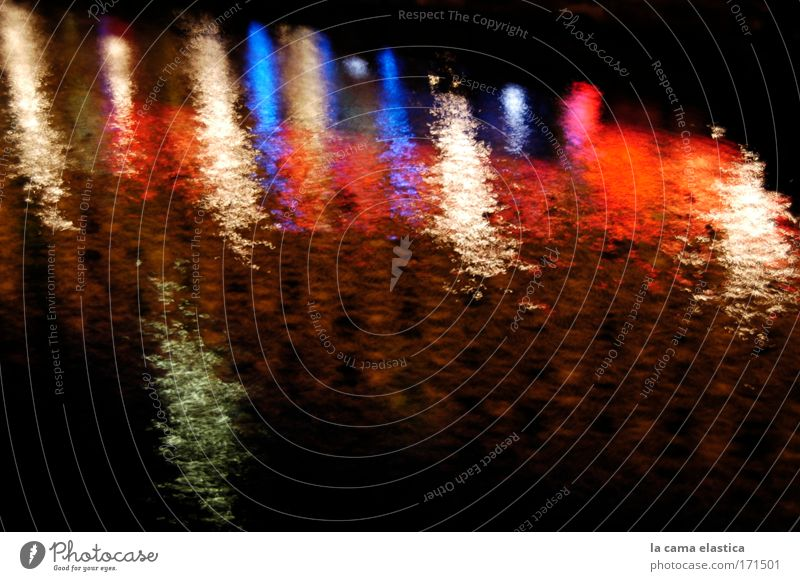 Colour photo Exterior shot Experimental Abstract Deserted Copy Space right Copy Space bottom Night Long exposure Motion blur Water River Think Exotic Fantastic