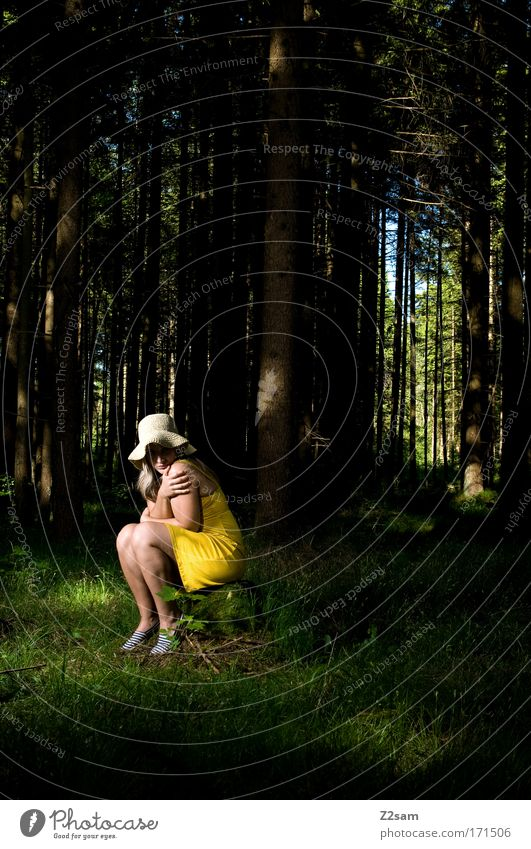 Nature Youth (Young adults) Beautiful Tree Green Loneliness Forest Dark Feminine Sadness Fear Fashion Blonde Adults Elegant Environment