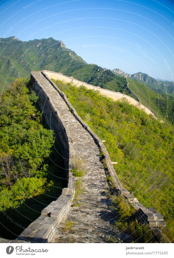 Border crossing big wall Sightseeing Mountain Cinese architecture Landscape Cloudless sky Beautiful weather Manmade structures Tourist Attraction Landmark