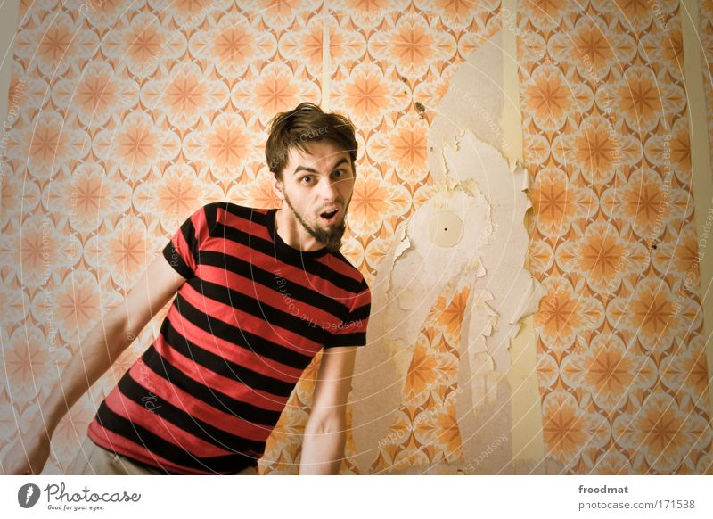 What? Colour photo Subdued colour Multicoloured Copy Space right Day Wide angle Upper body Looking into the camera Style Human being Masculine Young man