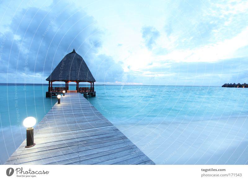 BLUE HOUR IN PARADISE Maldives Paradise Angaga Footbridge Blue India Ocean Horizon Evening Vacation & Travel Tourism Relaxation Beach Sand Surf Ari Atoll Dream