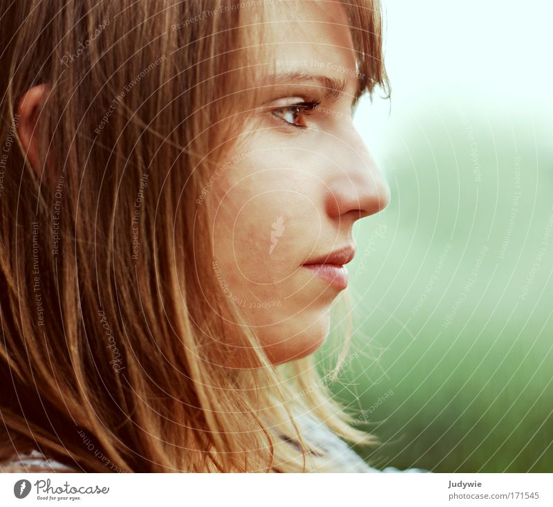 Silent expectation Colour photo Exterior shot Copy Space right Day Evening Shallow depth of field Portrait photograph Profile Forward Face Student Human being