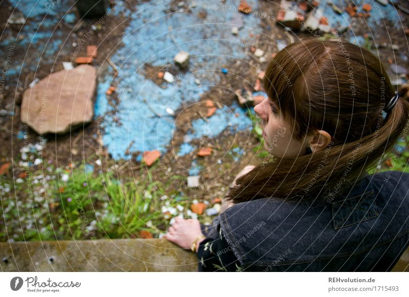 Carina in the abandoned pool. Human being Feminine Young woman Youth (Young adults) Hair and hairstyles 1 18 - 30 years Adults Brunette Long-haired Bangs Sit