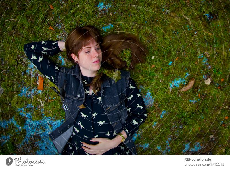 Carina on the moss bed. Human being Feminine Young woman Youth (Young adults) 1 18 - 30 years Adults Moss Dress Tattoo Piercing Hair and hairstyles Brunette
