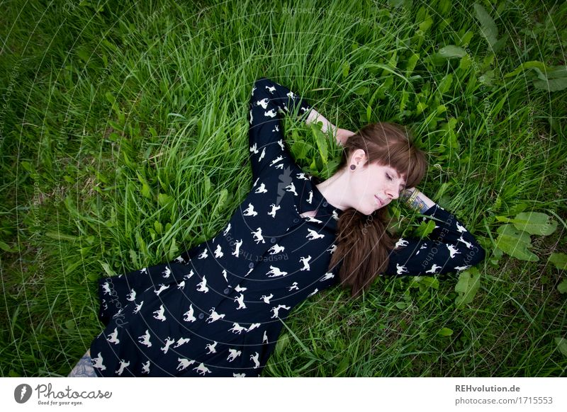 Human being Woman Nature Youth (Young adults) Summer Young woman Beautiful Landscape Relaxation 18 - 30 years Adults Environment Meadow Natural Grass Feminine