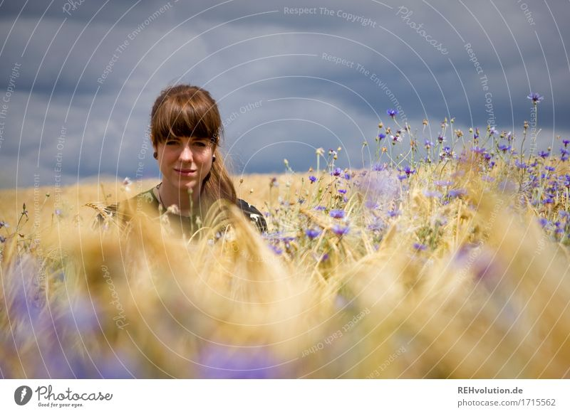 Carina in the cornfield. Human being Feminine Young woman Youth (Young adults) Face 1 18 - 30 years Adults Environment Nature Sky Clouds Storm clouds Flower