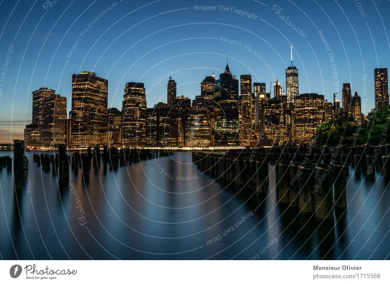 Manhattan Skyline View River East River New York City USA Town High-rise Building Architecture Soft Blue Long exposure Travel photography cityscape Colour photo