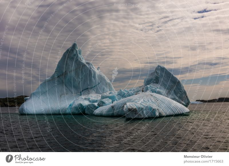 iceberg Nature Landscape Climate Ice Frost Cold Blue Canada twillingate Newfoundland Colour photo Subdued colour Exterior shot Copy Space top Copy Space bottom