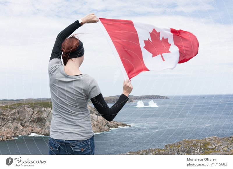 Canada - Flag Human being Young woman Youth (Young adults) Vacation & Travel Patriotism Wind Exterior shot Colour photo Day