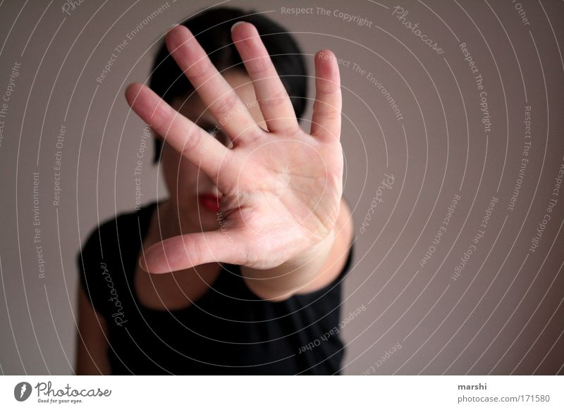 Woman Human being Man Hand Far-off places Emotions Adults Power Fear Arm Fingers Dangerous Stop 5 Hide Stress
