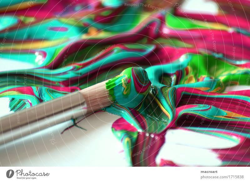 art Art Painting (action, artwork) Paintbrush Acrylic paint Colour Mix Mixture Multicoloured Close-up Detail