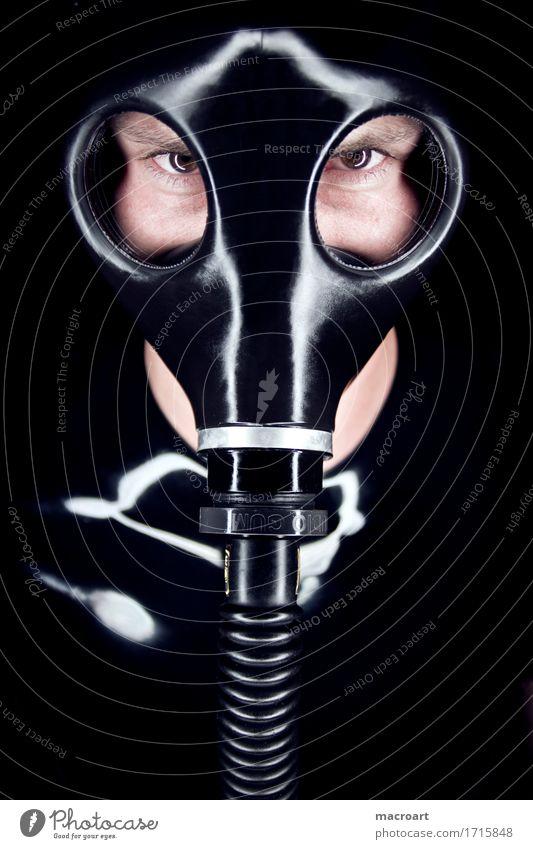 Dark Face Eyes Glittering Mask Gas Hose Connection Rubber Fetishism Respirator mask Latex