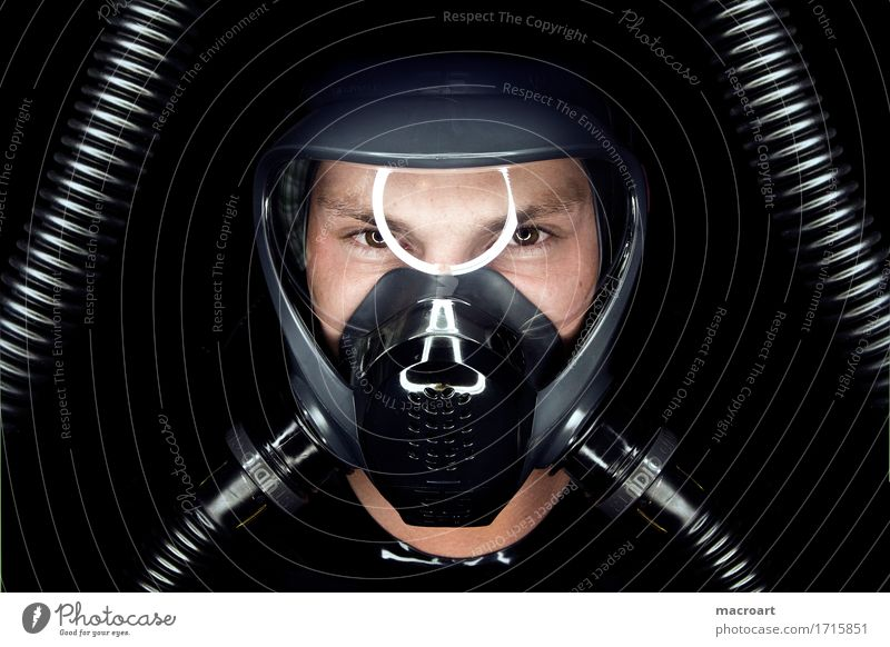 mask Mask Respirator mask Fetishism Latex Rubber Eyes Hose Glittering Gas Connection Dark Face ring light Gun sight