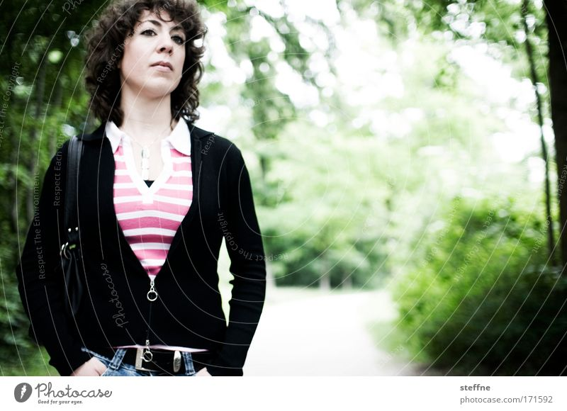 V-style Colour photo Exterior shot Day Light Contrast Shallow depth of field Portrait photograph Upper body Looking away Feminine Young woman