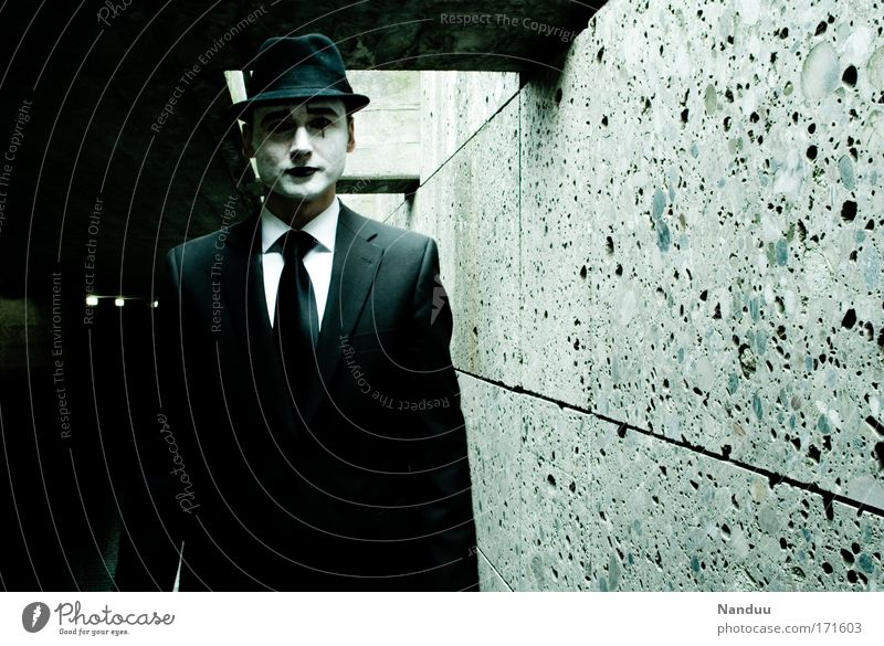 Human being Man Calm Dark Wall (building) Sadness Fear Adults Masculine Elegant Creepy Suit Tunnel Hat Stage play