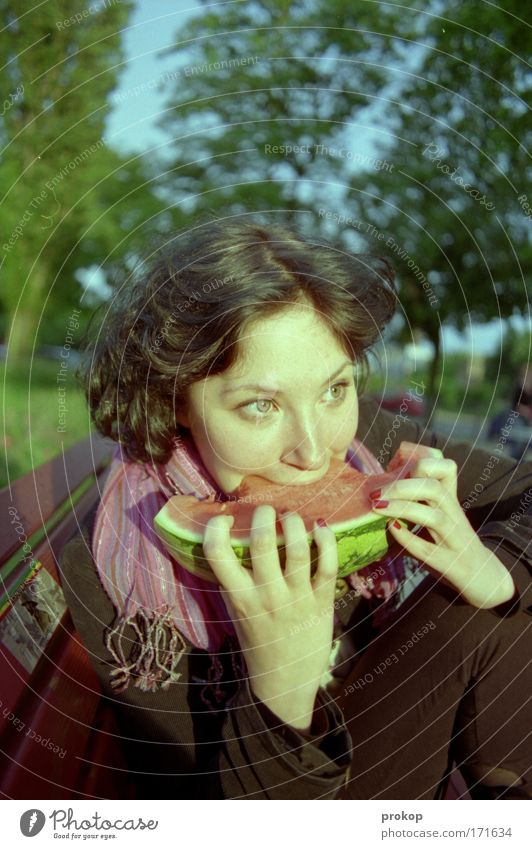 melonodrome Colour photo Exterior shot Day Wide angle Portrait photograph Forward Food Fruit Melon Style Summer Human being Feminine Woman Adults Head