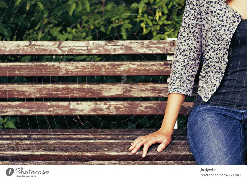 Human being Nature Youth (Young adults) Relaxation Hand Loneliness Environment Natural Feminine Happy Moody Park Sit Bushes Wait Simple