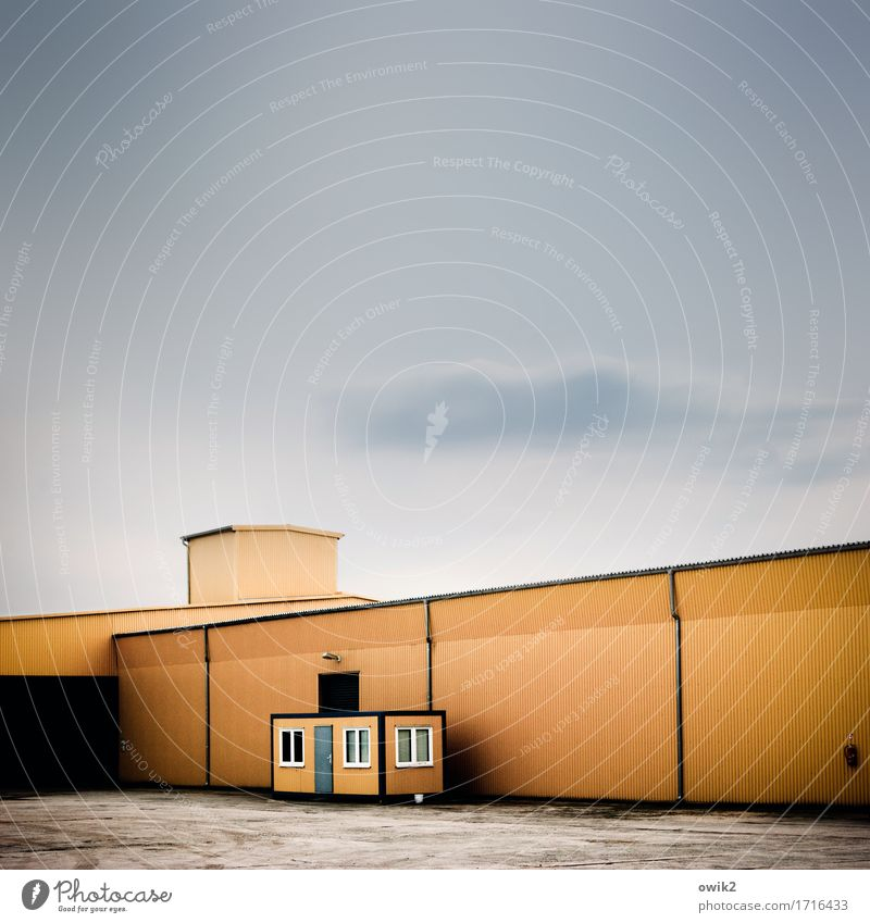 House (Residential Structure) Building Facade Orange Work and employment Metal Modern Gloomy Simple Village Factory Firm Sharp-edged Workplace Industrial plant