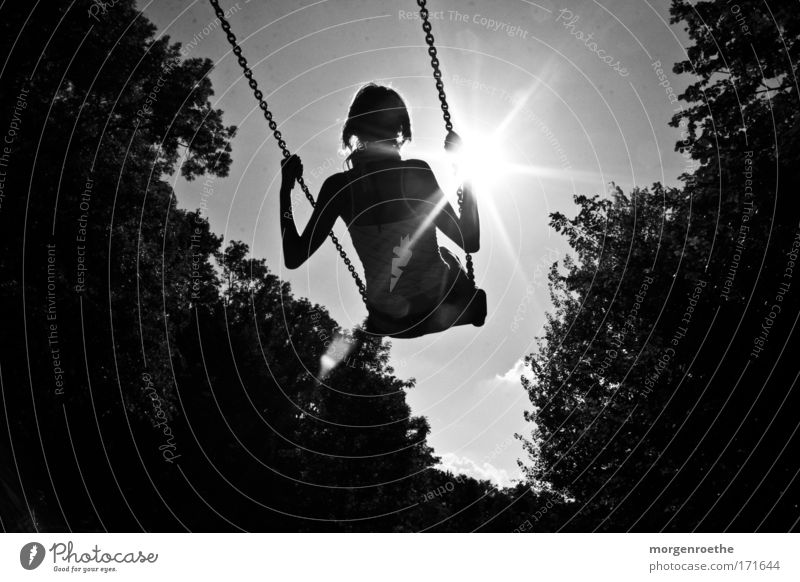 Up to the sun Sun Black & white photo Swing Woman Nature Freedom won Movement