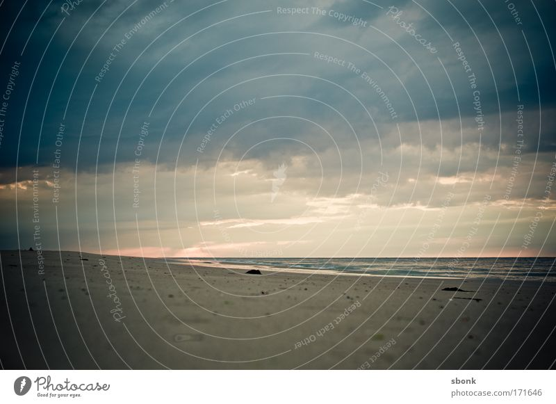 -3m Colour photo Deserted Copy Space top Evening Summer Beach Ocean Waves Nature Sand Air Water Sky Clouds Horizon Climate Storm Wind Gale Fog Rain Infinity