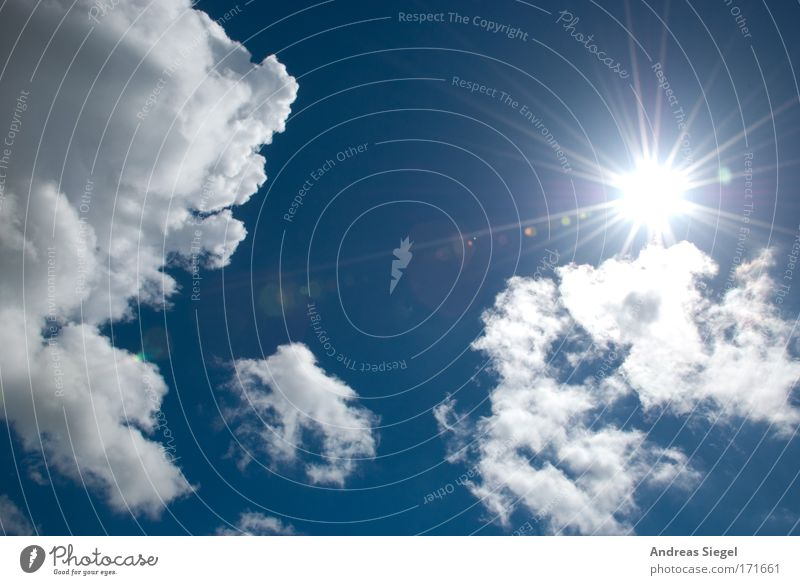 Sky White Sun Blue Summer Vacation & Travel Clouds Sunbeam Emotions Warmth Air Moody Weather Environment Success Free