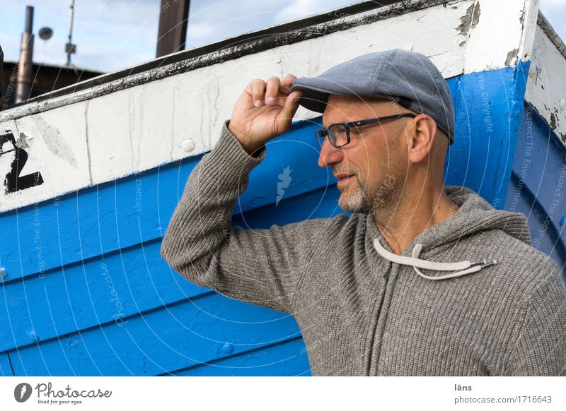 To a new Vacation & Travel Summer Masculine Man Adults Life 1 Human being 45 - 60 years Coast Baltic Sea Ocean Navigation Fishing boat cap Bald or shaved head