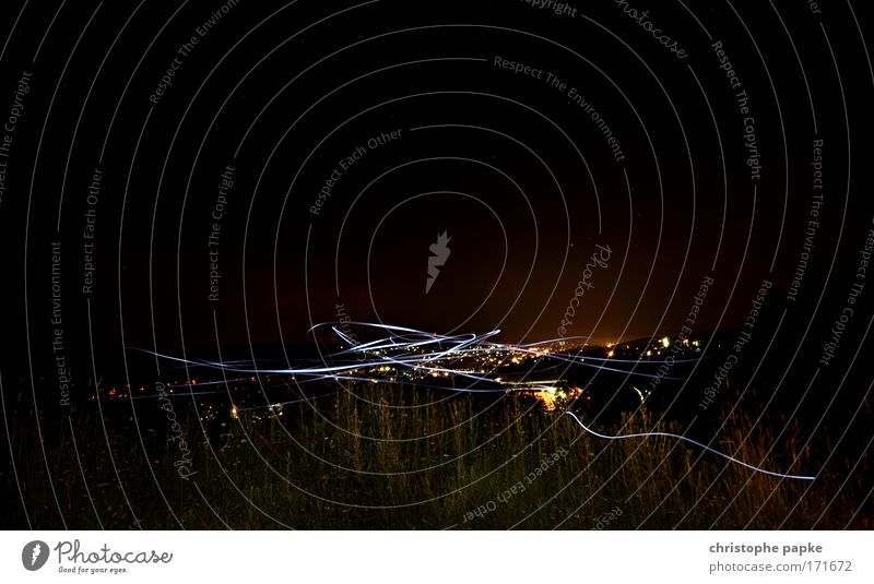 City Dark Movement Stars Night sky Stripe Exceptional Skyline Visual spectacle Outskirts Lighting effect Town