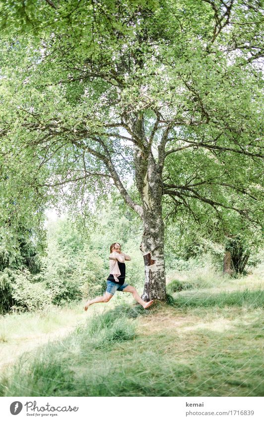 Human being Nature Summer Green Tree Landscape Joy Adults Environment Life Grass Lifestyle Feminine Style Playing Happy