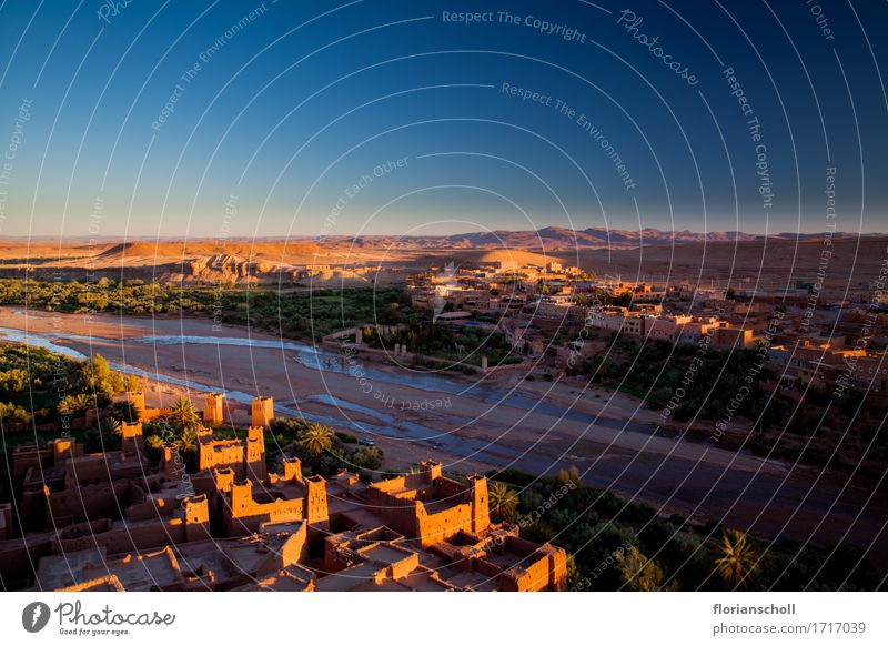 Sunset in Ouarzazate Vacation & Travel Summer Sand Dry Blue Yellow Green Calm Leisure and hobbies Nature Tourism buildings colorful desert hot landscape light
