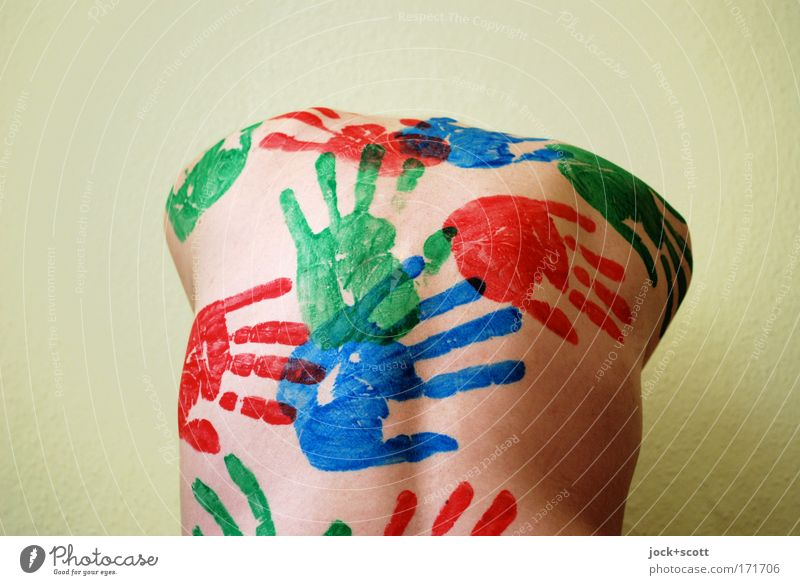 Back with colored hands Senses Hand 30 - 45 years Bodypainting Touch Naked Creativity Surrealism Imprint Torso Headless Finger paint Handcrafts Therapy