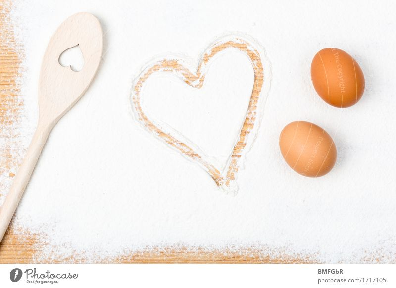 Bake with love Flour Egg Spoon Shopping Baking Cooking Living or residing Flat (apartment) Kitchen Feasts & Celebrations Baker Bakery confectioner Bakery shop