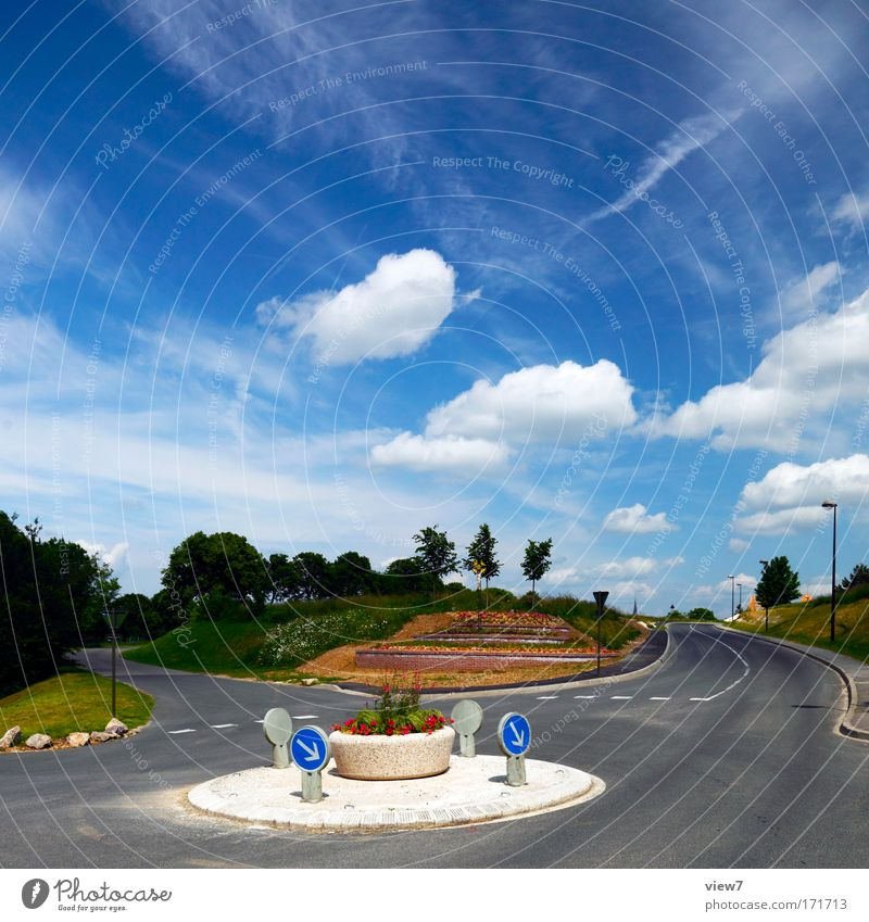 traffic in the circle Colour photo Multicoloured Exterior shot Deserted Copy Space top Day Light Deep depth of field Sculpture Environment Nature Landscape Air