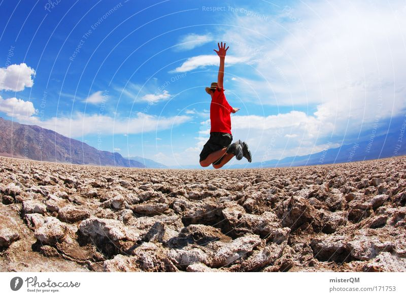 Sky Youth (Young adults) Red Joy Jump Stone Style Horizon Flying Trip Tall Modern Adventure Perspective Future Travel photography