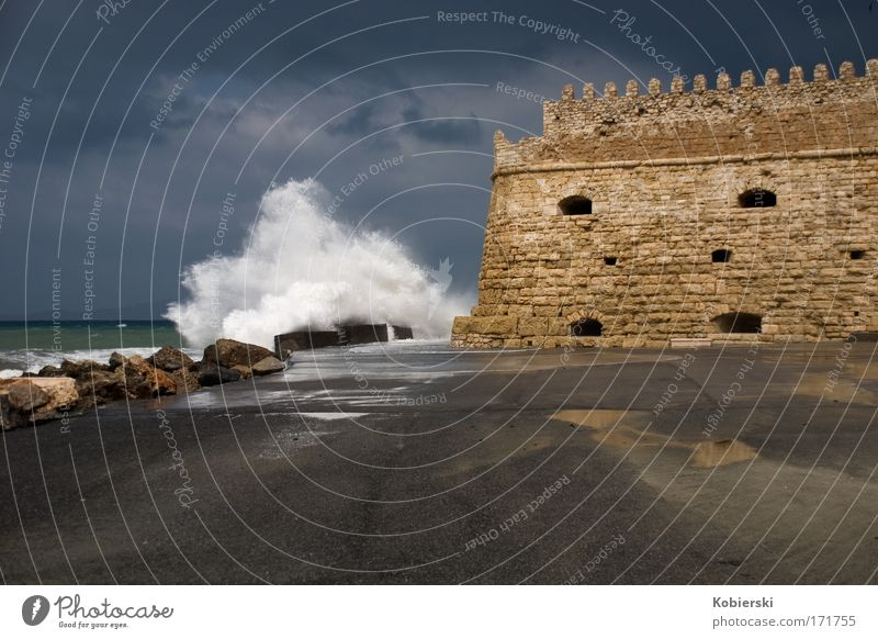 Port Fortress Koules-Heraklion Colour photo Exterior shot Deserted Day Panorama (View) Elements Water Storm clouds Gale Thunder and lightning Waves Coast Ocean