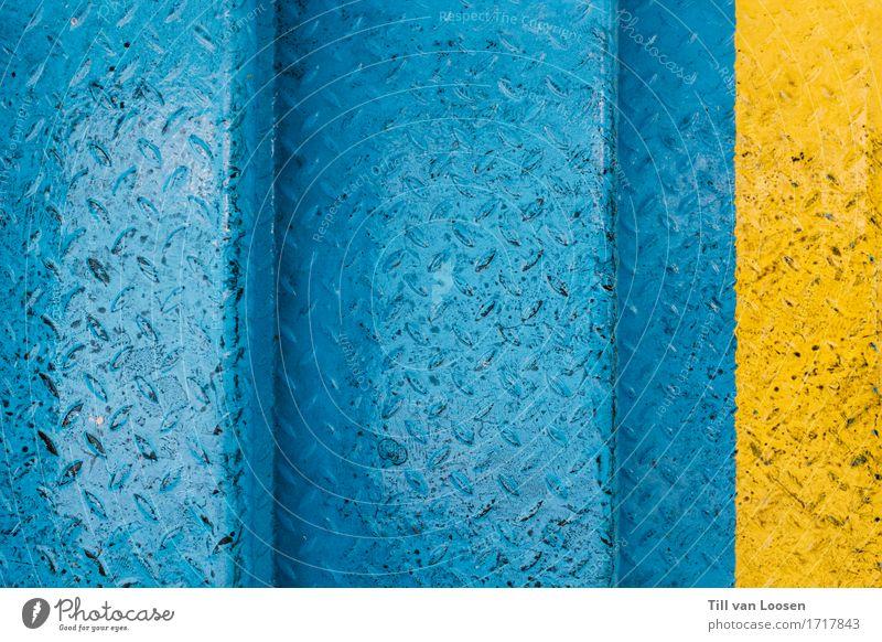 Blue Yellow Line Metal Stairs Illuminate Fresh Modern Steel Gaudy Light blue Disturbance Slippery surface
