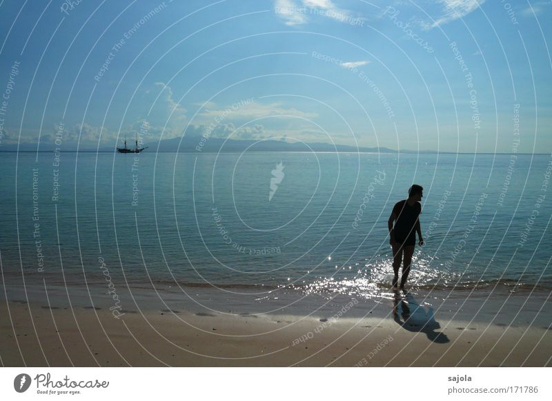 Human being Sky Man Blue Water Vacation & Travel Summer Ocean Beach Clouds Adults Movement Freedom Coast Sand Air