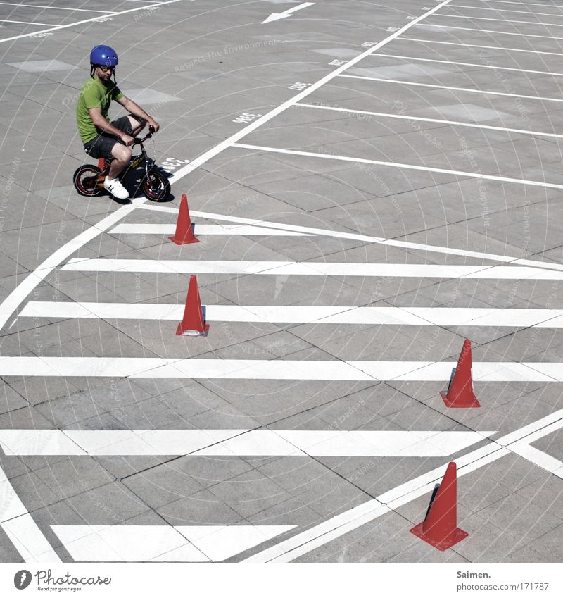 Slalom baby! Slalom! Subdued colour Exterior shot Structures and shapes Sunlight Masculine Man Adults Driving Bicycle Line Helmet Practice Study Wheel