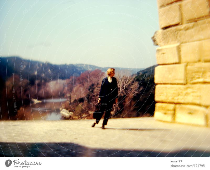 Human being Loneliness Feminine Park Hiking To go for a walk Observe Longing Single Inspection