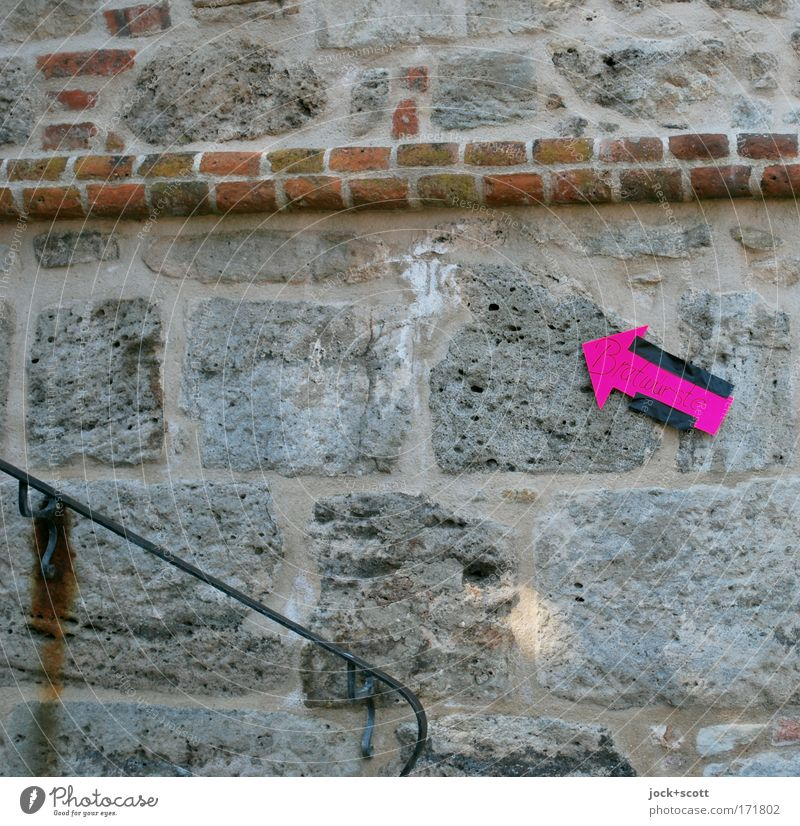 Old Wall (building) Lanes & trails Style Wall (barrier) Stone Metal Pink Signs and labeling Characters Beginning Signage Stripe Sign Planning Curiosity
